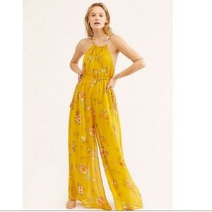 Free People Maxi Yellow floral Romper Dress xs